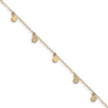 14kt Yellow Gold 10 Inch Diamond Cut Dangling Disc Ankle Bracelet
