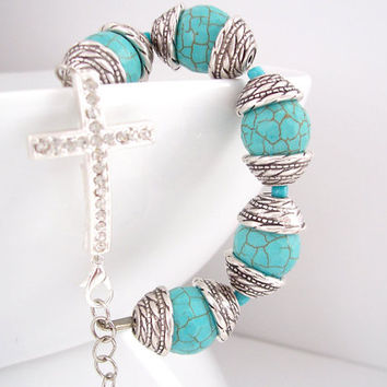 Christian Bracelet, Turquoise and Silver Bracelet, Cross Jewelry, Religious Bracelet, Cross Bracelet, Christian Jewelry, Statement Bracelet