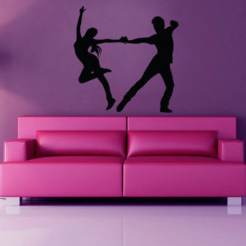 Dancing Wall Decals Sport Dance Boy Girl Couple Dancer Vinyl Decal Sticker Home Art Mural Gym Interior Design Kids Nursery Room Decor KG328
