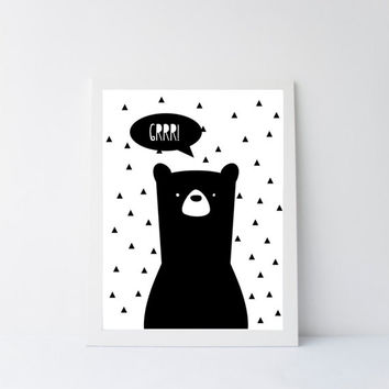 Bear print, modern bear print, modern nursery art, printable 8x10 bear, black and white printable