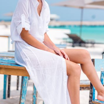 Cardigan Beach Sunscreen Beach Cover Up Beach Dress pure white Chiffon coat
