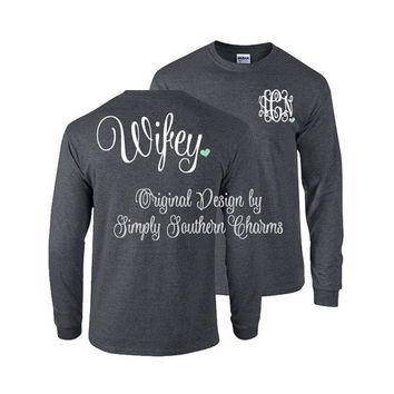 Long Sleeve Monogram Tshirt. (1) 'Wifey' TShirt. Simply Southern. Bridesmaid Shirt. Monogrammed Gift. Bridesmaid Gift. Wedding Gift.