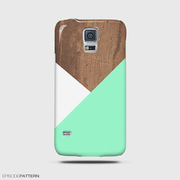 Samsung Galaxy Note 4 Case, Galaxy S5 Mini Case Mint Geometric Wood Pattern