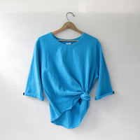vintage aqua blue cotton top. oversized shirt. minimalist shirt