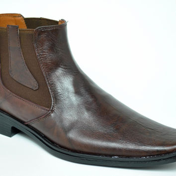 Baronett Men's Dress Ankle Elastic Pull On Brown Leather Boots