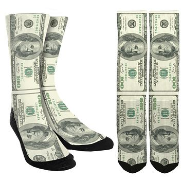 New 100 Dollar Bill Crew Socks