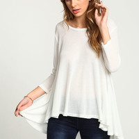 IVORY SWINGY WAFFLE KNIT TOP