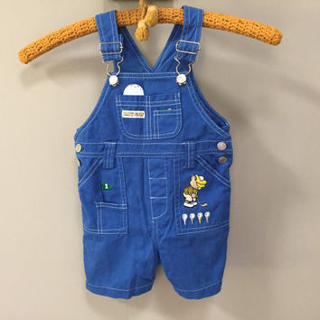 Baby Golf Overalls, Royal Blue Vintage Baby Overalls, 18m baby vintage overalls, unisex baby boys vintage toddler overall shorts golf bear