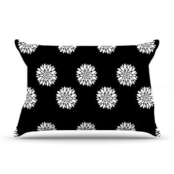 "Suzanne Carter ""Peony Rose"" Black White Pillow Case"