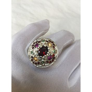 Vintage Bohemian Garnet 925 Sterling Silver gold Rhodium Finish Ring