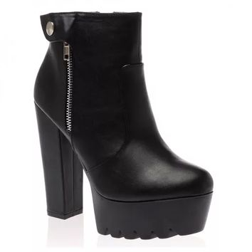 Indie Black Cleated Ankle Boots