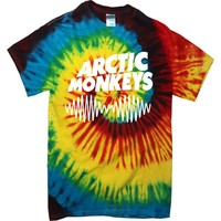 ARCTIC MONKEYS AM SOUND WAVE RAINBOW TYE DIE CASUAL T SHIRT:Amazon.co.uk:Clothing