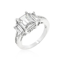 Emerald Cut Triplet Engagement Ring, size : 09