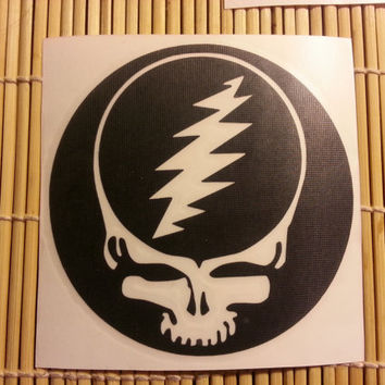 Grateful Dead steal your face sticker // 4 inch vinyl decal // choose Red Black White