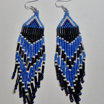 Beaded fringe earrings, Native American, Tribal. Handmade Beaded Jewelry. Beaded fringe earrings. Blue, White, Black. Beadwork.