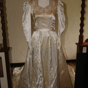 Vintage Ivory Satin Wedding Dress With Seed Pearl Trim And Veil 1940s to 1950s Long Sleeve Full Length Handmade Approx Size 4 to 6