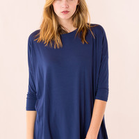 Piko Top: 3/4 Sleeve Round Neck in Navy