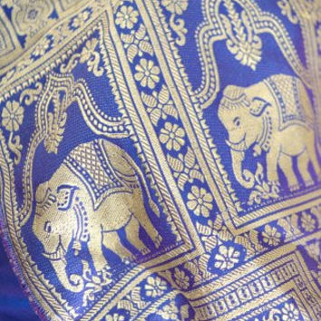 Purple and Gold Indian Neck Scarf with Elephants