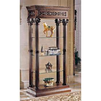 Broadgate Presentation Shelves Handcarved Columns Wood and Glass Old World 78H