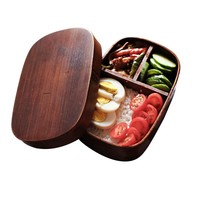 Portable Wood Lunch Box With Compartments Food Container Rectangle Japanese Lunch Box Fruit Sushi Bento Box Kitchen Accessories
