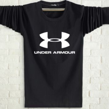 Under Armour Spring and autumn new fashion men and women letter print long sleeve tops Black