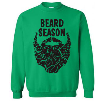 Mens Beard Season Sweater Flex Fleece Pullover Classic Sweatshirt - S M L XL and XXL (14 Color Options)