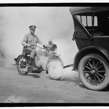c1923 Policeman on Motorcycle trailing smoking Automobile -Antique-Vintage B&W Reproduction Photograph: Gicclee Print. Frame it!