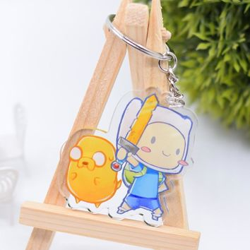 Finn and Jake Keychain Cute Double Sided Adventure Time Key Chain Pendant Acrylic Anime Accessories Cartoon Key Ring DBS1P