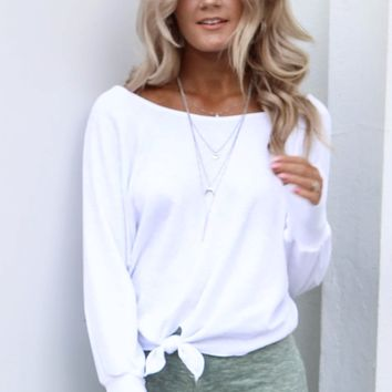 Your Everything White Front Knot Sweatshirt