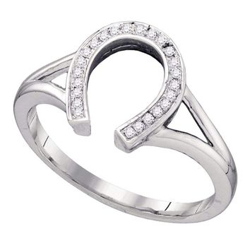 10kt White Gold Womens Round Diamond Lucky Horseshoe Ring 1/12 Cttw