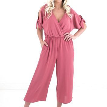 Women's Cropped Jumpsuit with Shoulder Ties