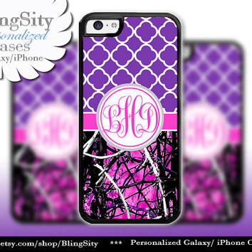 Monogram iPhone 5C 6 6 Plus Case iPhone 5s iPhone 4 case Ipod 4 5  Real Tree Camo Hot Pink Purple Quatrefoil Personalized Country Girl