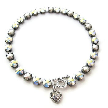 Pearl Clear AB Swarovski  Crystal Rivoli Rhinestone  Silver Necklace, Anna Wintour Inspired, 11 mm Big Stones Necklace Layering Necklace