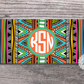 Aztec monogram license plate tribal geometric tag with preppy coral circle monogram