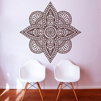 Indian Mandala Wall Decals Art Mural Home Decor Vinyl Hollow Out Flower Pattern Wall Sticker For Living Room