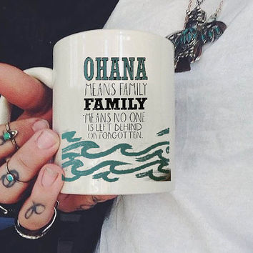 ohana quote lilo and stitch Mug, Ceramic Mug, Coffee Mug, tea mug,