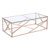 Cage Coffee Table Rose Gold Polished Stainless Steel
