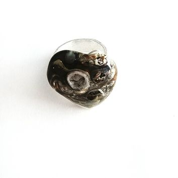 Silver Metal Clay and Fused Glass Rings
