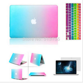 "laptop 3 in 1 Rainbow Matt Case cover+ silicone Keyboard Cover+Screen Protector For Apple Mac Book Pro 11''/12""/13'/15 NO logo"