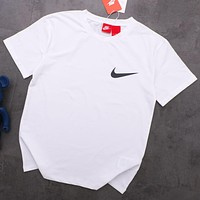 NIKE new tide brand string joint name OFF-WHITE men and women round neck half sleeve shirt white