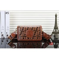 Fendi 2018 new trend retro embossed letters women's shoulder bag Messenger bag #5