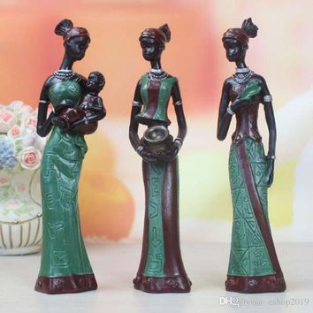 3 Set of Skinny African Lady With Baby Ethnic Statue Sculptures