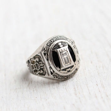 Vintage Sterling Silver Class Ring - Art Deco Size 7 1930s Wilkinsburg High School Sterling Jewelry / 1935 Graduate