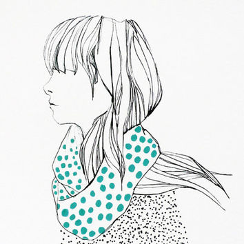 Girl with dotty scarf - 5x7 print