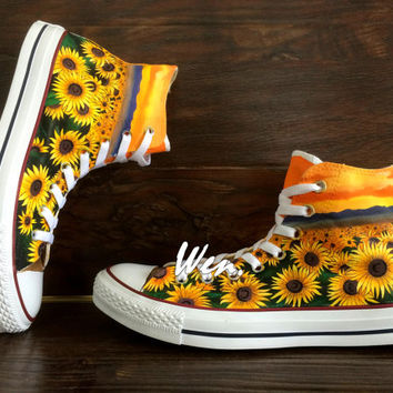WEN Original Design Sunflower Shoes Floral Converse Floral Shoes Painted Shoes,Sunflower Converse,Custom sunflower Art Floral Art Gifts