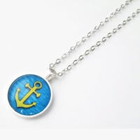 Yellow Anchor Pendant necklace, nautical jewelry with rolo chain, round glass dome jewelry, silver tone photo pendant charm