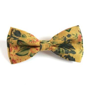 Yellow vintage bow tie, floral tie, yellow bow tie, wedding neck wear, mens ties
