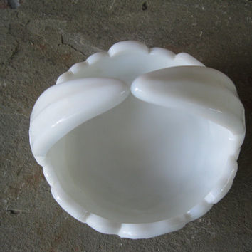 Westmoreland Milk Glass Pansy Basket Candy Dish Vintage