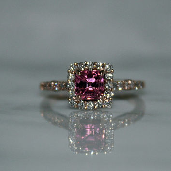 Sale-14K Rose Gold, Natural,  VVS 1.35ct. Pink Tourmaline and .60ct VVS Diamond, Engagement Ring, Free Ship/Appraisal Included (Was 1299.00)