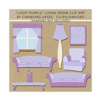 Light Purple Living Room Clipart Clip Art Graphics, Family Room, Sofas, Chair, Table, Flower, Window, Lamp, Artwork, Scrapbook Elements